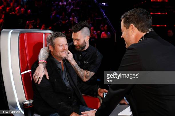 THE VOICE Live Top 8 Results Episode 1615B Pictured Blake Shelton Adam Levine Carson Daly