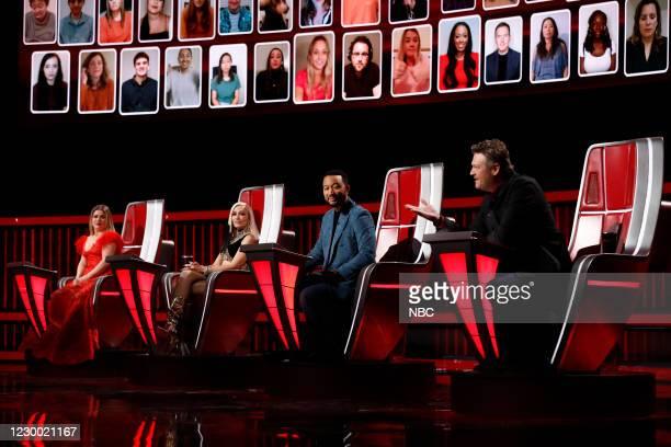 "Live Top 9 Results"" Episode 1913B -- Pictured: Kelly Clarkson, Gwen Stefani, John Legend, Blake Shelton --"
