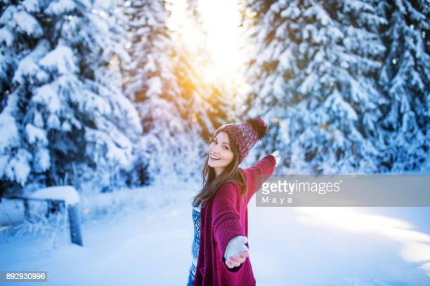 live your life with arms wide open - mid adult woman sweater stock pictures, royalty-free photos & images