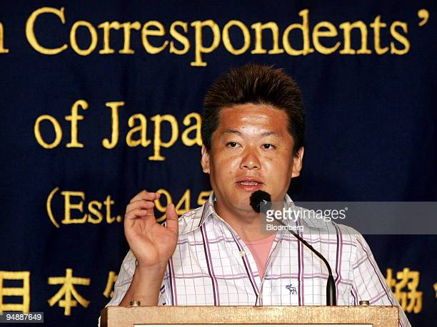 Livedoor President Takafumi Horie speaks to reporters during a press briefing at the Foreign Correspondents' Club of Japan in Tokyo Tuesday September...