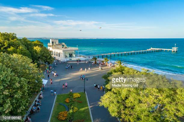 lively aerial drone view over the sea garden in burgas, bulgaria ultra wide shot - bulgaria stock pictures, royalty-free photos & images