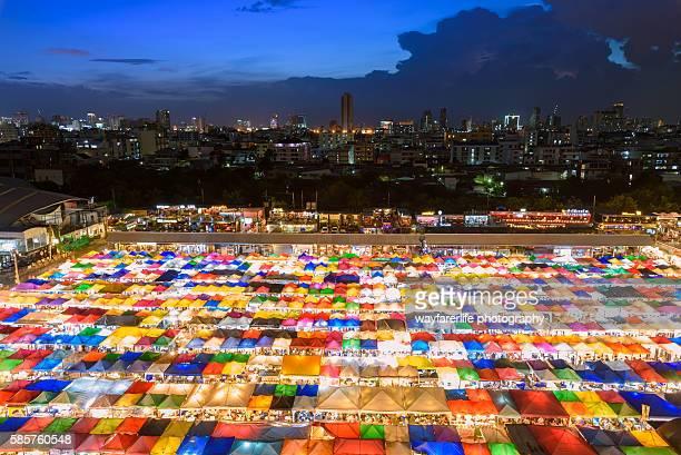Lively and colorful Night Market, Bangkok, Thailand