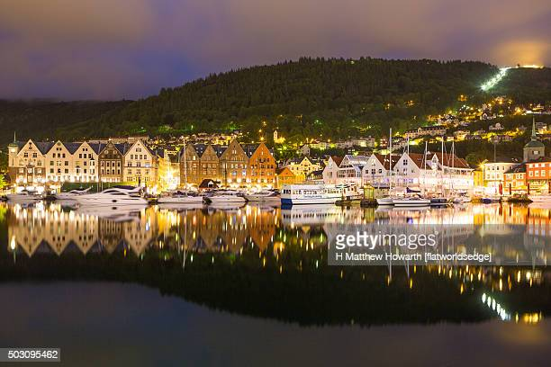 Lively Bergen waterfront on summer's Saturday night