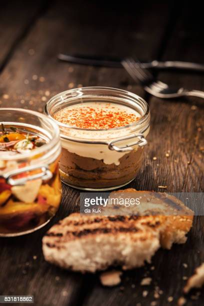 liver pate in a jar and toasts - pate stock photos and pictures