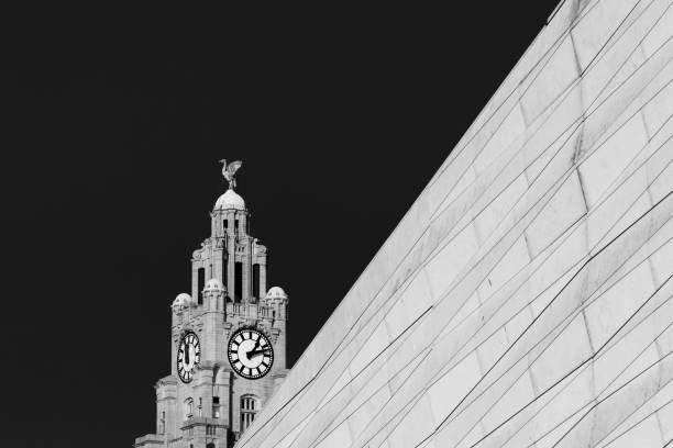 Liverbird behind a modern facade