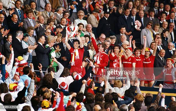 Liverpoo captain Alan Hansen lifts the cup after Liverpool had beaten Everton 31 to win the 1986 FA Cup Final at Wembley Stadium on May 10th 1986 in...