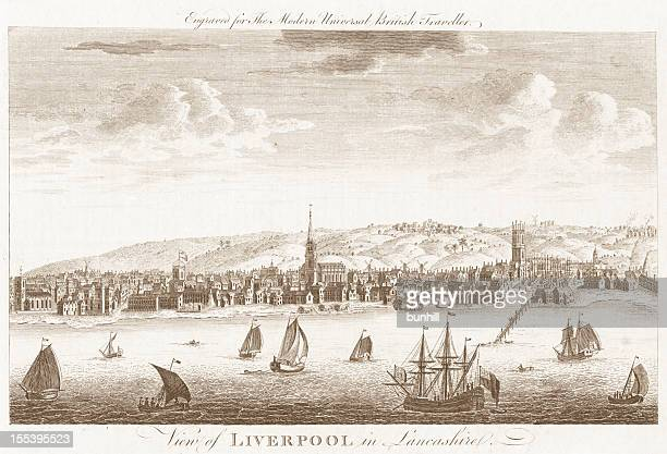 liverpool - 18th century engraved image - 18th century style stock pictures, royalty-free photos & images