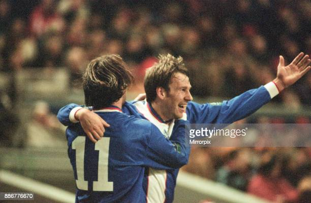 Liverpool 21 Middlesbrough League Cup semi final 1st leg match at Anfield Tuesday 27th January 1998 Paul Merson celebrates after scoring goal with...