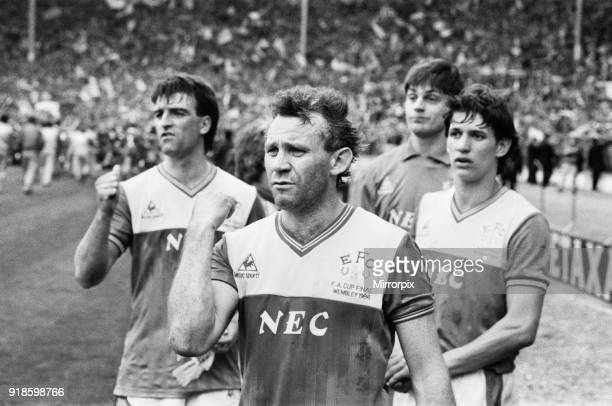 Liverpool 31 Everton FA Cup Final Wembley Stadium London Saturday 10th May 1986 Post Match Commiserations Everton captain Kevin Ratcliffe Peter Reid...