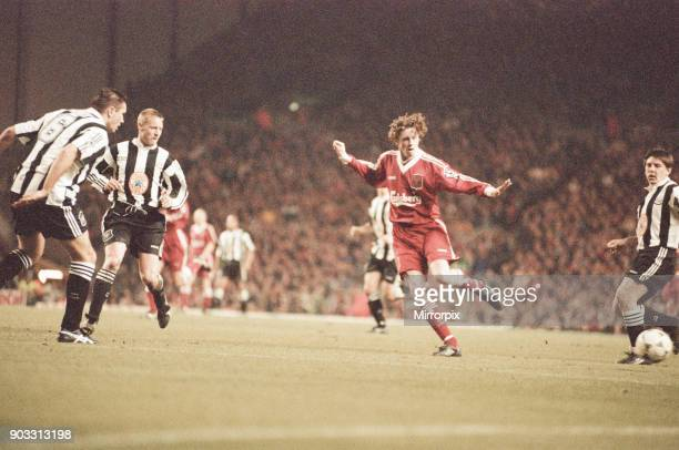 Liverpool 4-3 Newcastle United, premier league match at Anfield, Wednesday 3rd April 1996. Our picture shows Steve Howey, David Batty, Steve...