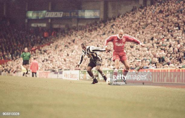 Liverpool 43 Newcastle United premier league match at Anfield Wednesday 3rd April 1996 Our picture shows Faustino Asprilla versus Stan Collymore