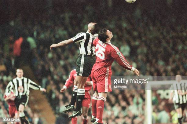 Liverpool 43 Newcastle United premier league match at Anfield Wednesday 3rd April 1996 Our picture shows Les Ferdinand Neil Ruddock