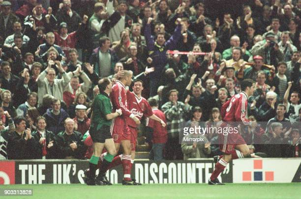 Liverpool 4-3 Newcastle United, premier league match at Anfield, Wednesday 3rd April 1996. Our picture shows Stan Collymore celebrates after scoring...