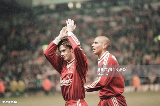 Liverpool 43 Newcastle United premier league match at Anfield Wednesday 3rd April 1996 Our picture shows Steve McManaman Stan Collymore