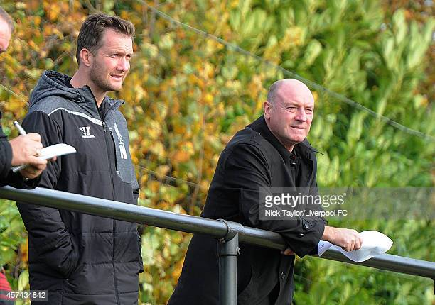 Liverpool Academy Director Alex Inglethorpe and former Liverpool player Steve McMahon watch the game during the Barclays Premier League Under 18...