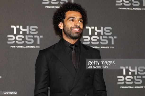 Liverpool and Egypt forward Mohamed Salah poses for a photograph as he arrives for The Best FIFA Football Awards ceremony on September 24 2018 in...