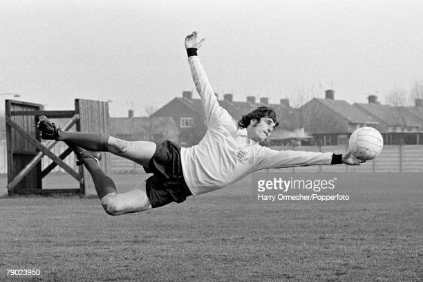 Sport Football England March 1975 Liverpool FC goalkeeper Ray Clemence is pictured making a full length dive in his England kit