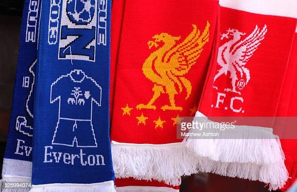 Liverpool and Everton scarfs on sale before the Merseyside derby