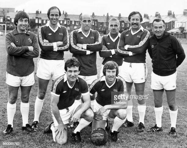 Liverpool and Everton training staff members including Roy Evans and Ronnie Moran line up before a charity football tournament at Penny Lane December...