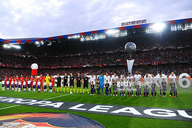 Liverpool and Sevilla players line up prior to the UEFA Europa League Final match between Liverpool and Sevilla at St JakobPark on May 18 2016 in...