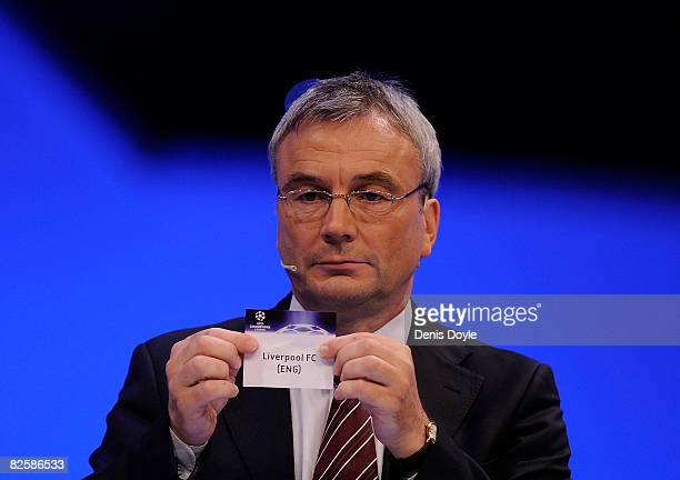 Liverpool are drawn in group D during the UEFA Champions League Draw for the 2008/2009 season at the Grimaldi Center on August 28 2008 in Monte Carlo...
