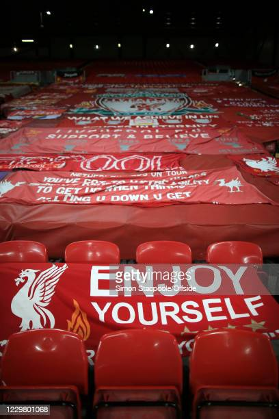 Liverpool banners on The Kop seen during the UEFA Champions League Group D stage match between Liverpool FC and Atalanta BC at Anfield on November...