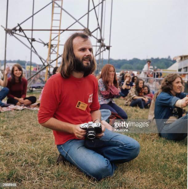 Liverpool born BBC Radio 1 disc jockey and pioneer of alternative music John Peel at Reading Pop Festival in Berkshire circa 1970