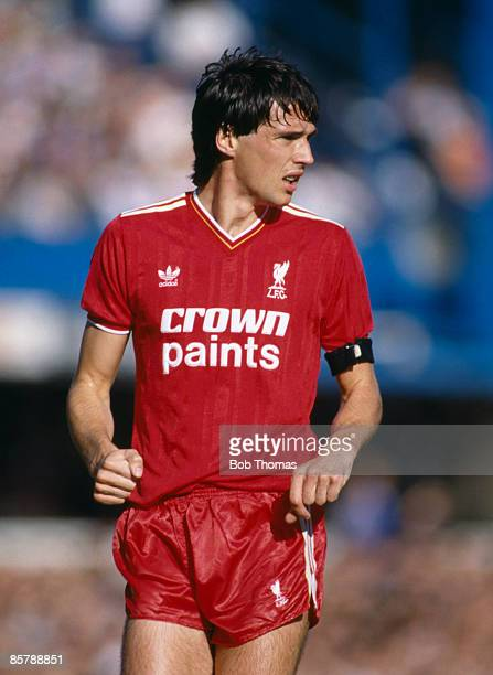 Liverpool captain Alan Hansen in action against Queens Park Rangers at Loftus Road 5th October 1985