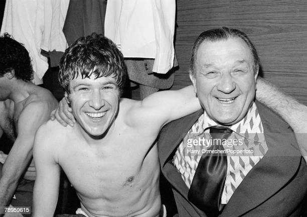 Liverpool captain Emlyn Hughes and manager Bob Paisley celebrate in the dressing room after the European Cup Semi Final 2nd Leg between Liverpool and...