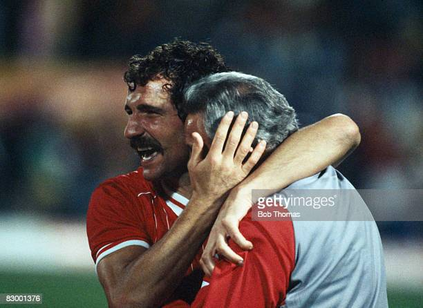 Liverpool captain Graeme Souness hugs Joe Fagan at the end of the European Cup Final against Roma at the Olympic Stadium in Rome May 30th 1984...
