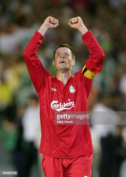Liverpool captain Jamie Carragher celebrates after Liverpool's 21 victory in the UEFA Champions League Group G match between Real Betis and Liverpool...
