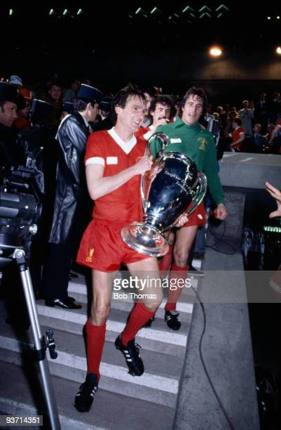 Liverpool captain Phil Thompson with the European Cup trophy after their 10 win over Real Madrid in the European Cup Final held at the Parc des...