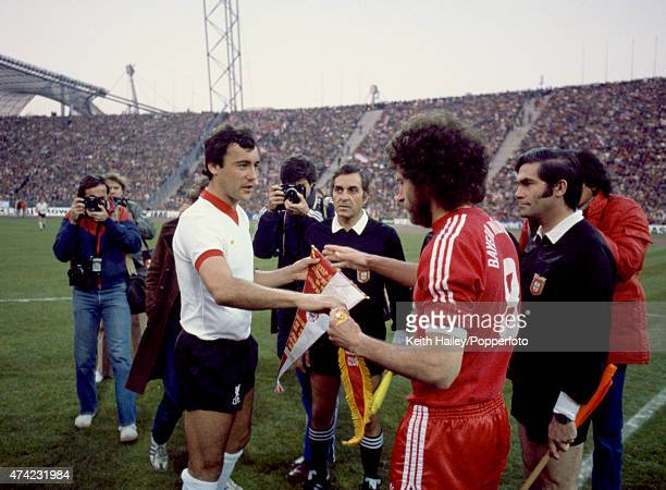 Liverpool captain Ray Kennedy meets Paul Breitner of Bayern Munich prior to the European Cup SemiFinal 2nd leg at the Olympic Stadium in Munich 22nd...