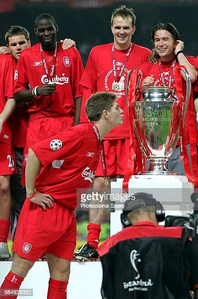 Liverpool captain Steve Gerrard kisses the trophy during the presentation ceremony following the UEFA Champions League final between Liverpool and AC...
