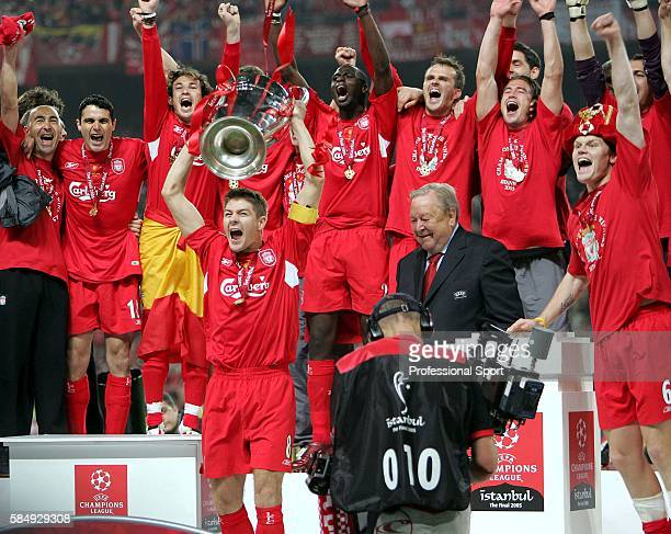 Liverpool captain Steve Gerrard lifts the trophy following the UEFA Champions League final between Liverpool and AC Milan on May 25 2005 at the...