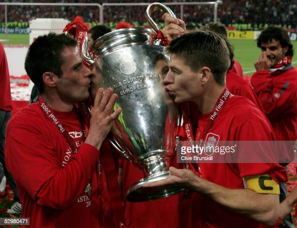 Liverpool captain Steven Gerrard and defender Jamie Carragher kiss the European Cup after Liverpool won the European Champions League final against...