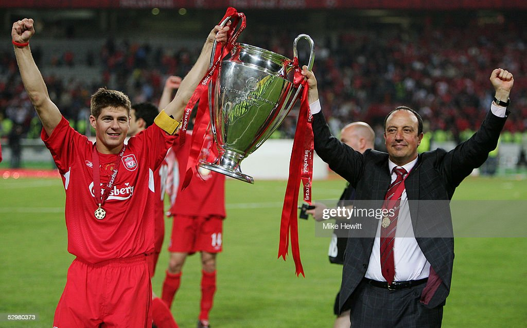 Liverpool captain Steven Gerrard and Liverpool manager Rafael Benitez of Spain lift the European Cup after Liverpool won the European Champions League final between Liverpool and AC Milan on May 25, 2005 at the Ataturk Olympic Stadium in Istanbul, Turkey.