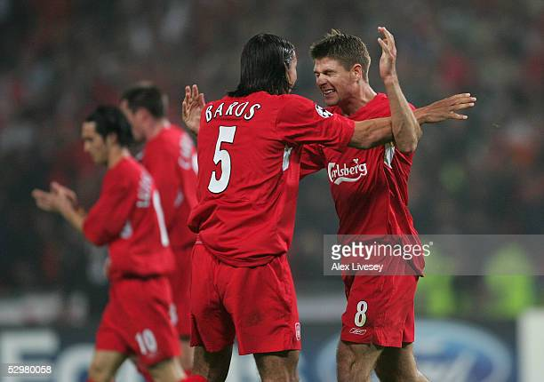 Liverpool captain Steven Gerrard and Liverpool striker Milan Baros of Czech Republic celebrate after a goal during the European Champions League...