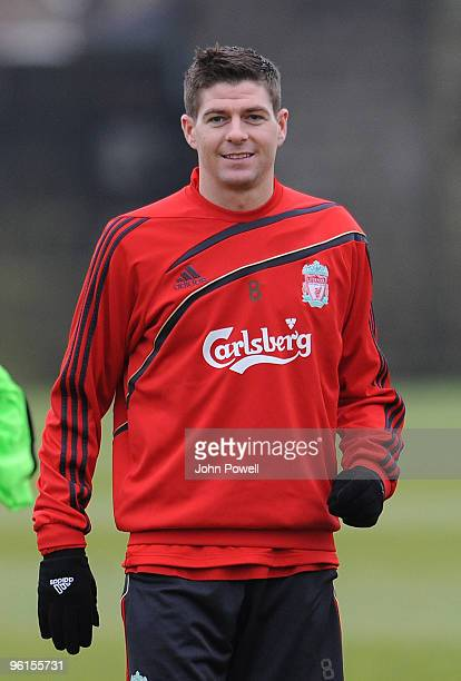 Liverpool captain Steven Gerrard attends a team training session at Melwood training ground on January 25 2010 in Liverpool England