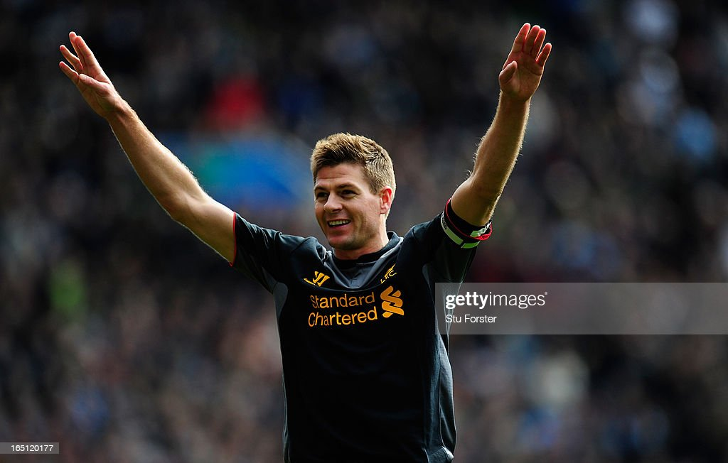 Liverpool captain Steven Gerrard celebrates after scoring the second Liverpool goal during the Barclays Premier League match between Aston Villa and Liverpool at Villa Park on March 31, 2013 in Birmingham, England.