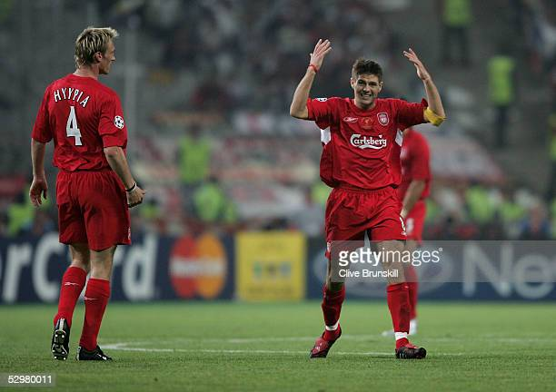 Liverpool captain Steven Gerrard celebrates his goal during the European Champions League final between Liverpool and AC Milan on May 25 2005 at the...