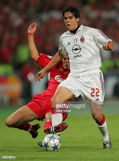 Liverpool captain Steven Gerrard challenges AC Milan forward Ricardo Kaka of Brazil during the European Champions League final between Liverpool and...