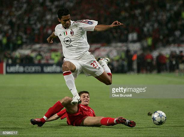 Liverpool captain Steven Gerrard challenges AC Milan midfielder Serginho Dos Santos of Brazil during the European Champions League final between...