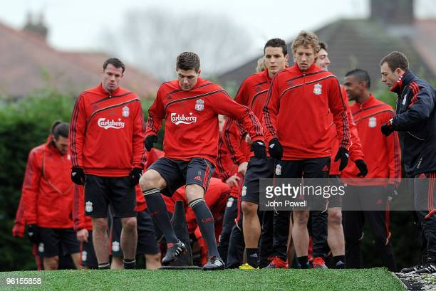 Liverpool captain Steven Gerrard in action during a Liverpool team training session at Melwood training ground on January 25 2010 in Liverpool England
