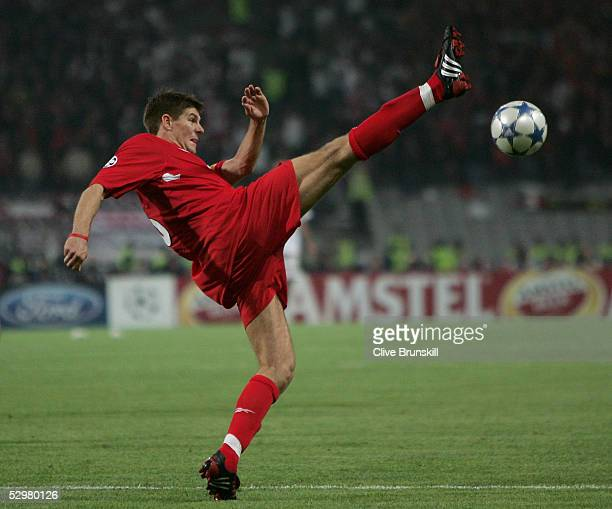 Liverpool captain Steven Gerrard in action during the European Champions League final between Liverpool and AC Milan on May 25 2005 at the Ataturk...