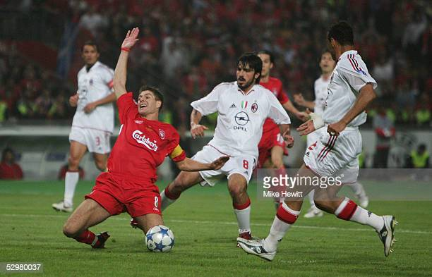 Liverpool captain Steven Gerrard is tackled during the European Champions League final between Liverpool and AC Milan on May 25 2005 at the Ataturk...