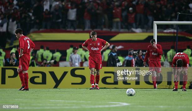 Liverpool captain Steven Gerrard reatcs after AC Milan forward Hernan Crespo of Argentina scored the second goal during the European Champions League...