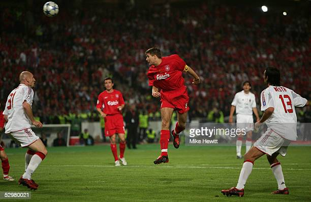 Liverpool captain Steven Gerrard scores the first goal during the European Champions League final between Liverpool and AC Milan on May 25 2005 at...