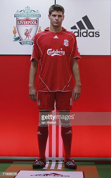 8d3d648c790 Liverpool captain Steven Gerrard shows off the new home kit during the  Liverpool FC Adidas Kit
