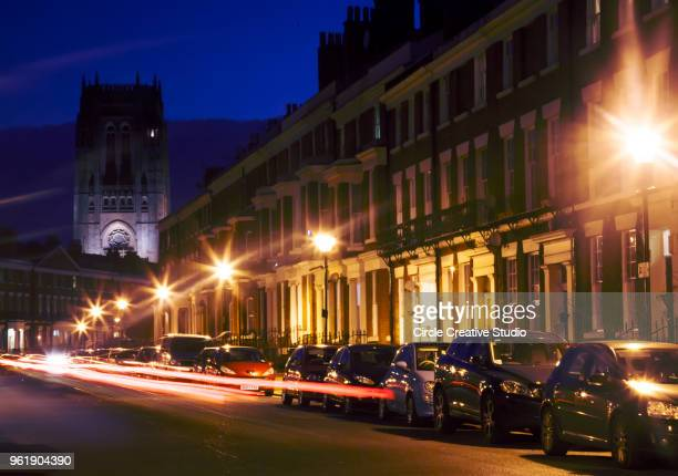 liverpool cathedral the church of england cathedral in liverpool from caning street - caning stock pictures, royalty-free photos & images